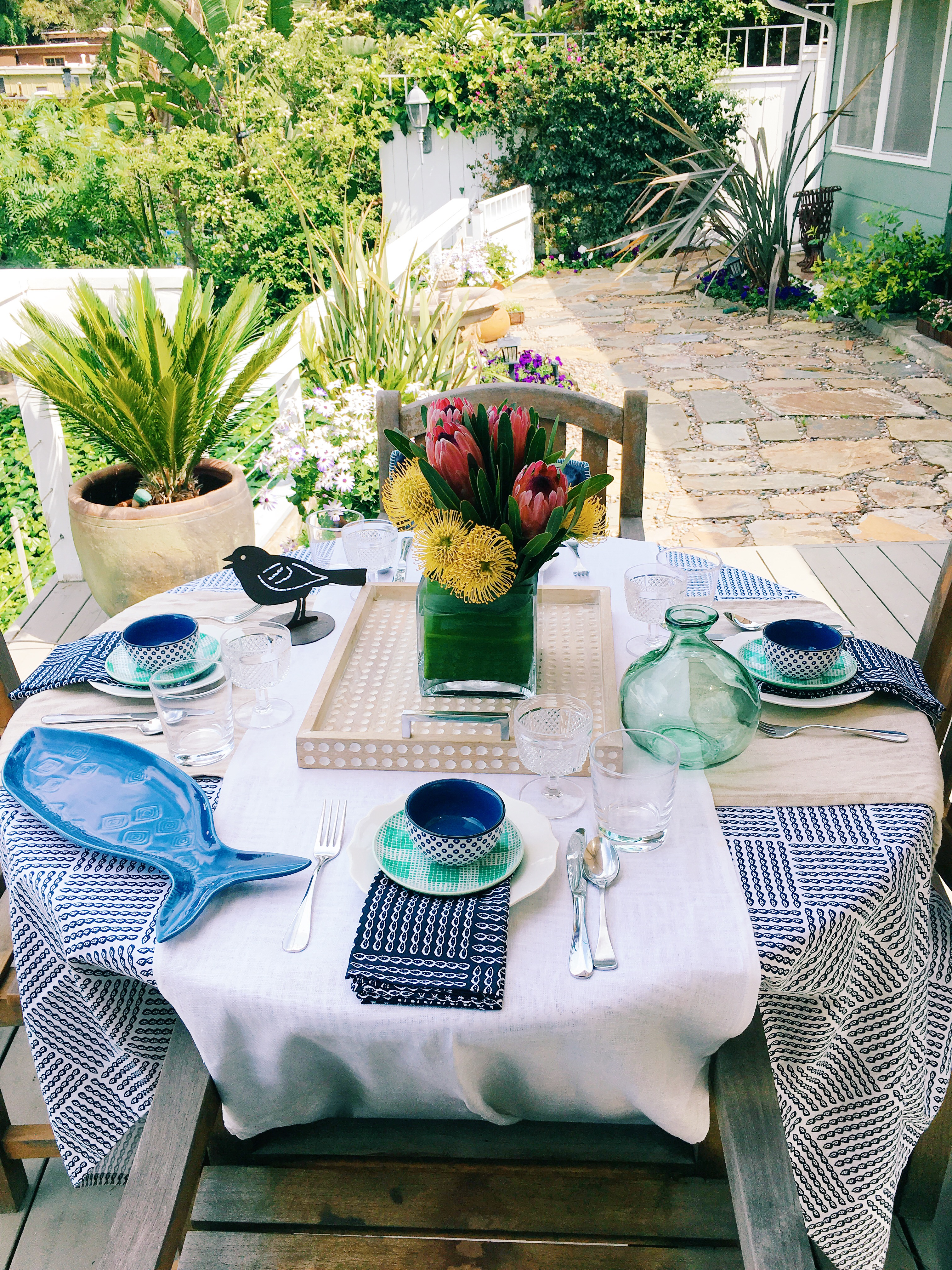 Spring Outdoor Entertaining Tablescape Dining Table