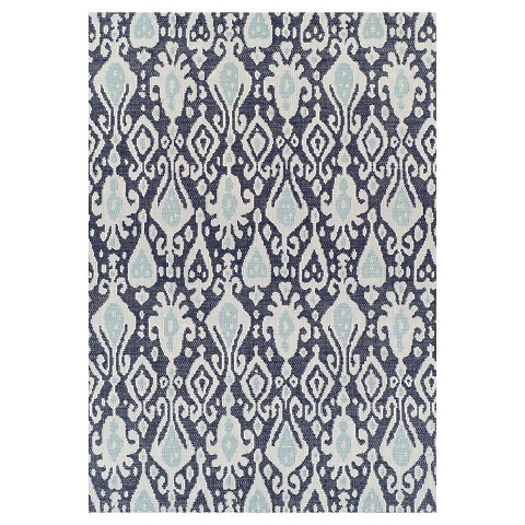 Blue Ikat Outdoor Rug