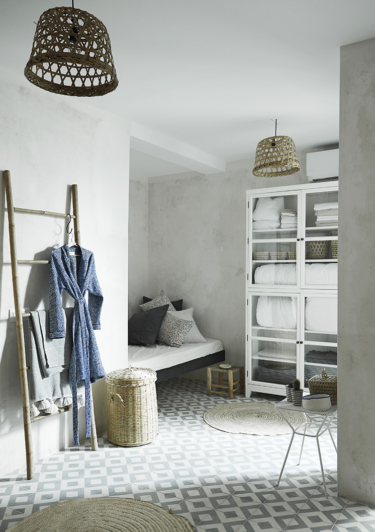 cement tile linen closet floor