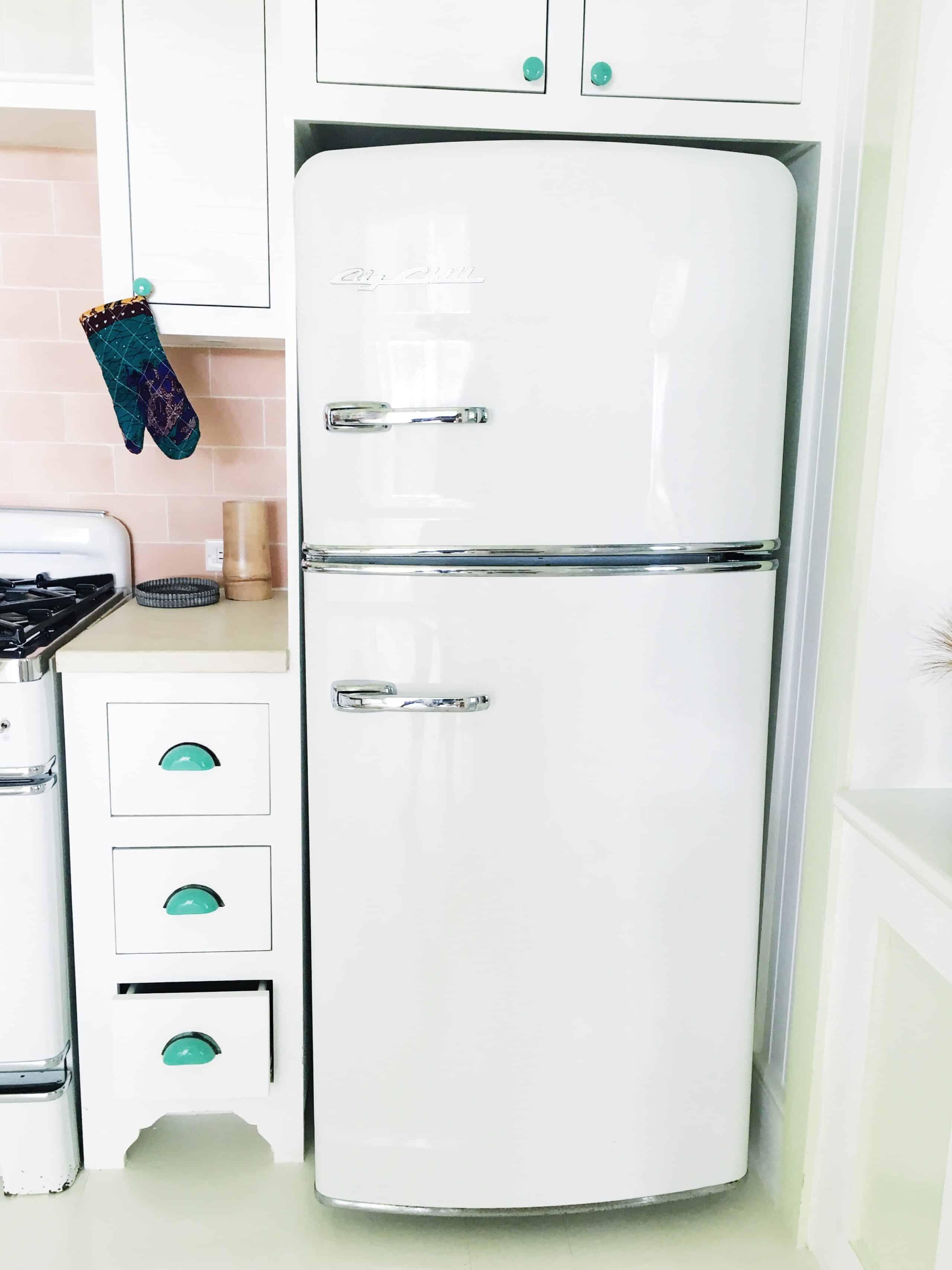 retro kitchen white big chill refrigerator fridge