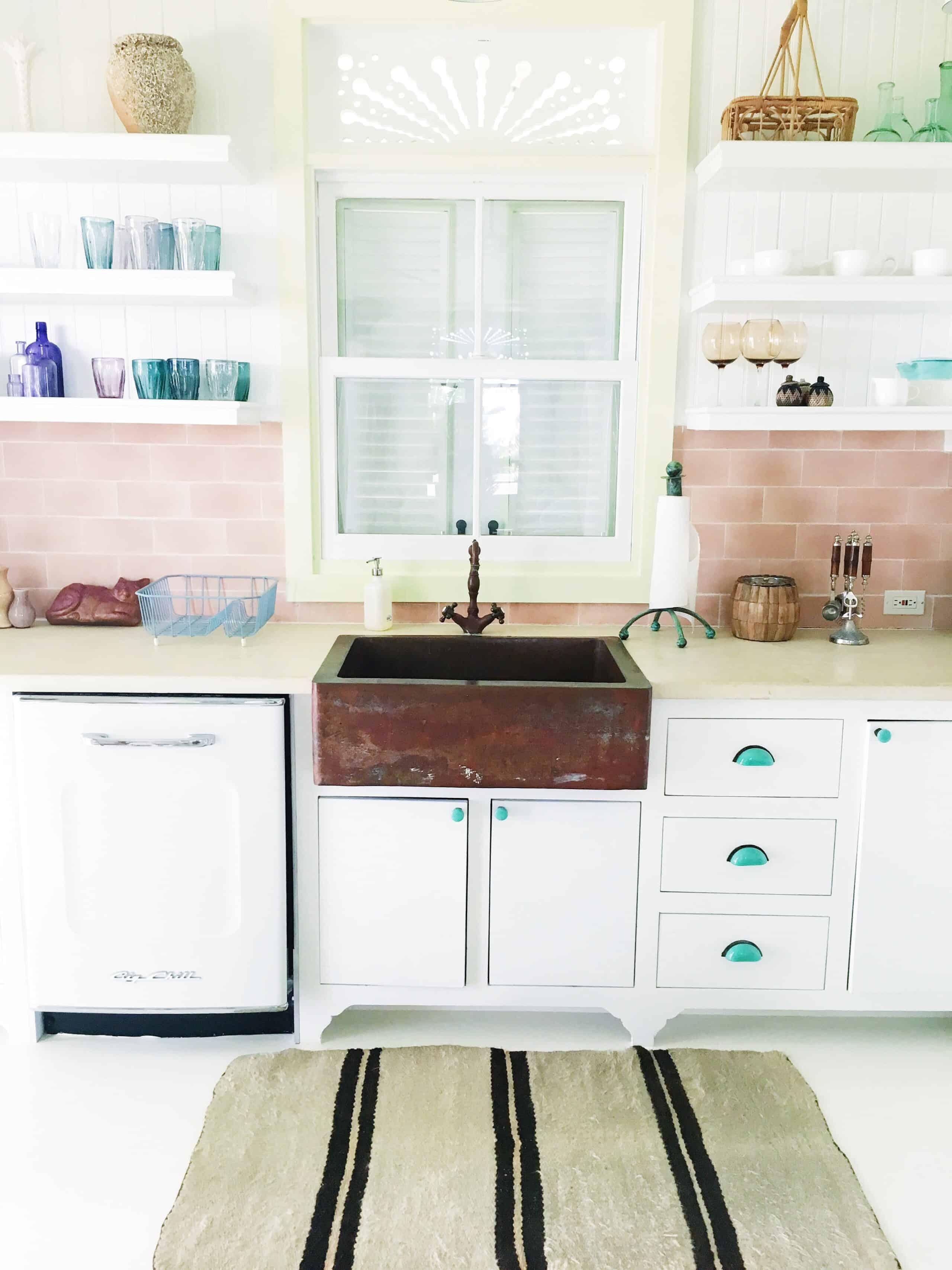 retro kitchen pink tile backsplash copper farmhouse farm sink