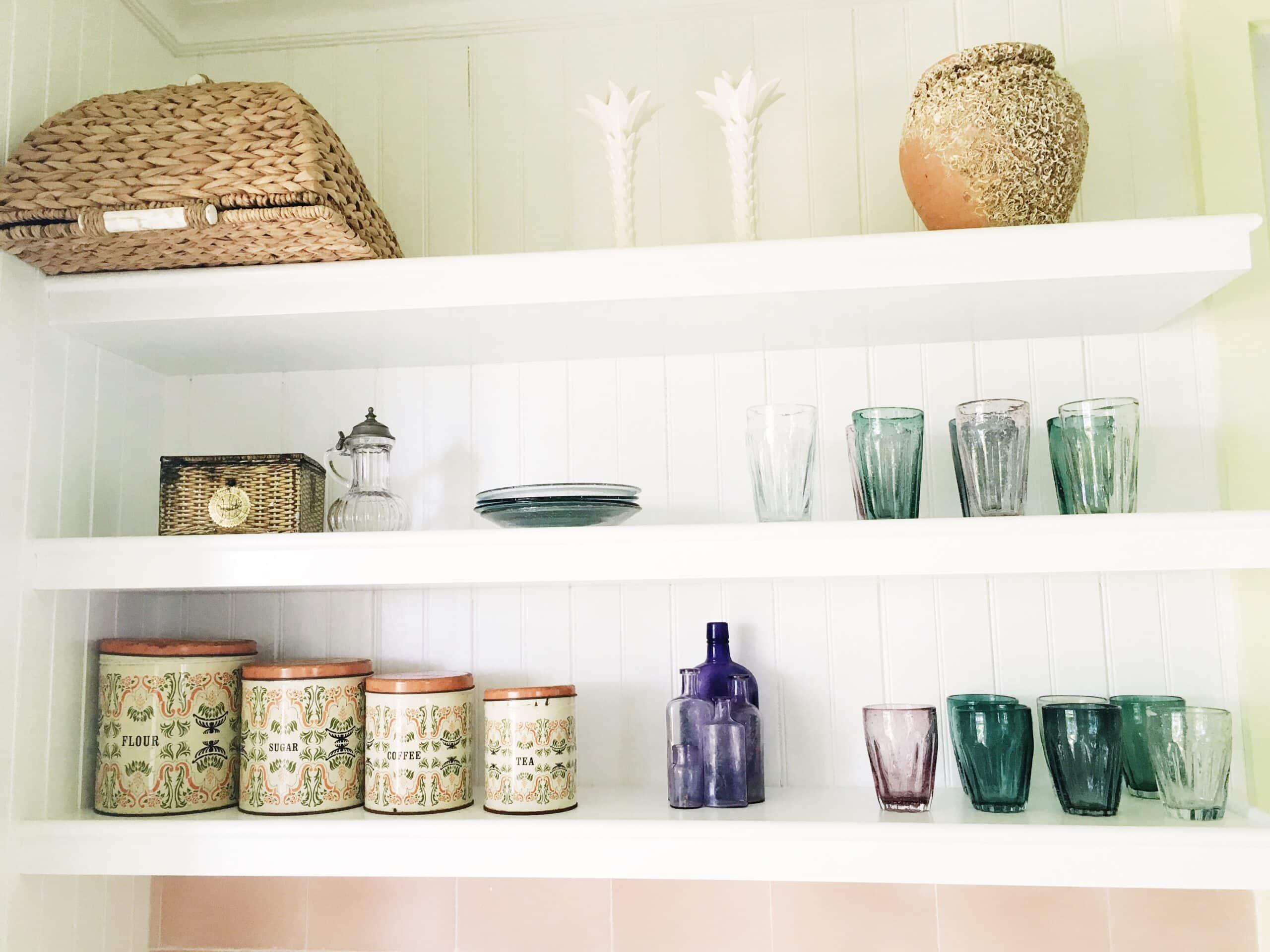 kitchen open shelves floating shelving