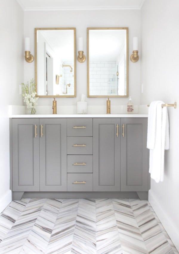 Vintage  Herringbone Floors Bright White Bathroom Cococozy