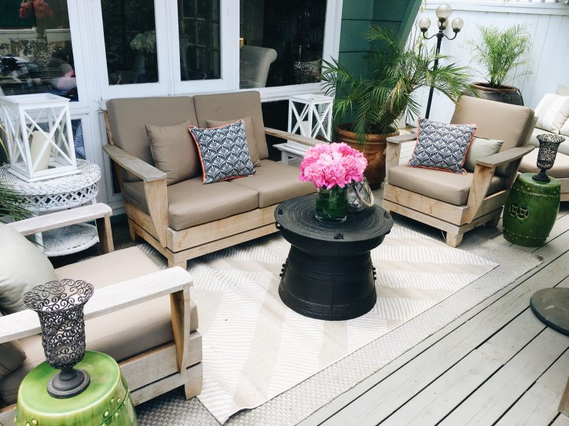 Target Style Deck Rug Ottoman Pink Peonies