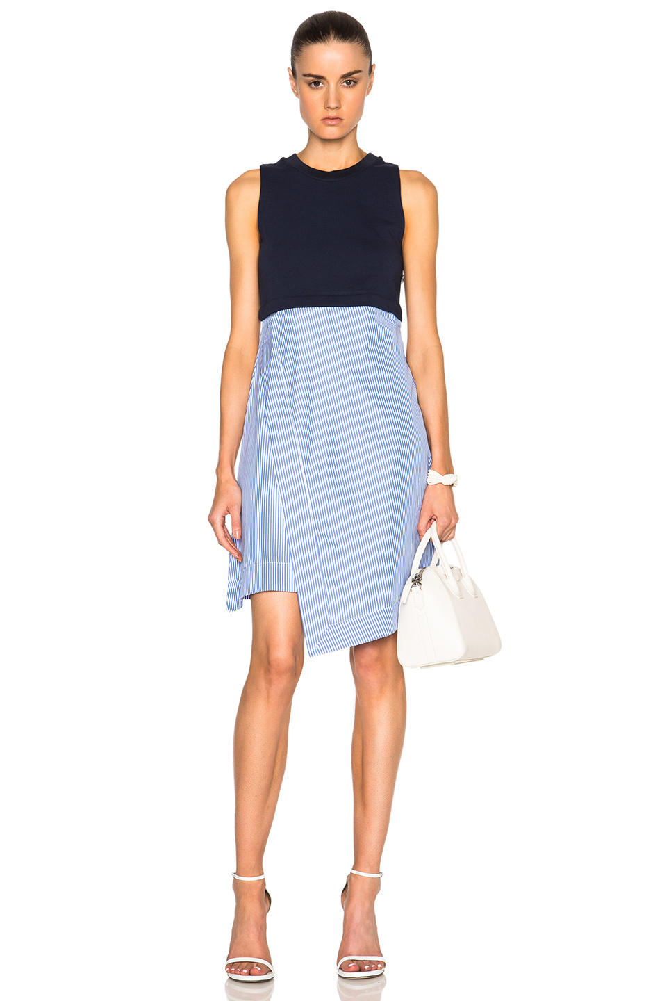 Carven Little Blue Dress Striped Skirt