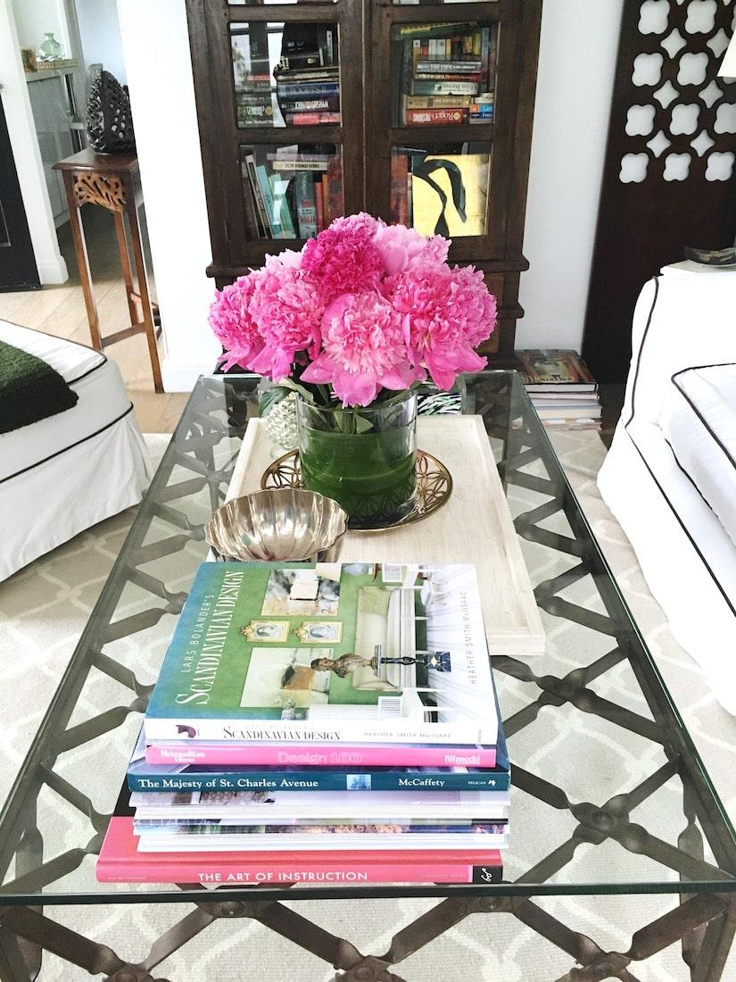 living room decor pink peonies