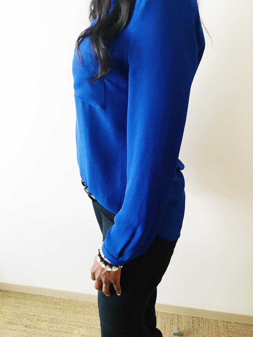 work outfit Blue long sleeve blouse ootd