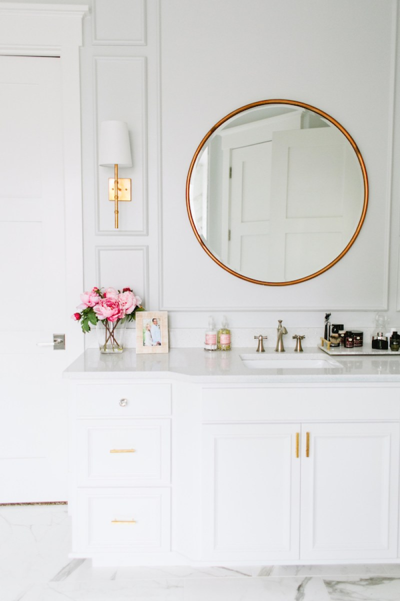 White Bathroom Mirror with Gold