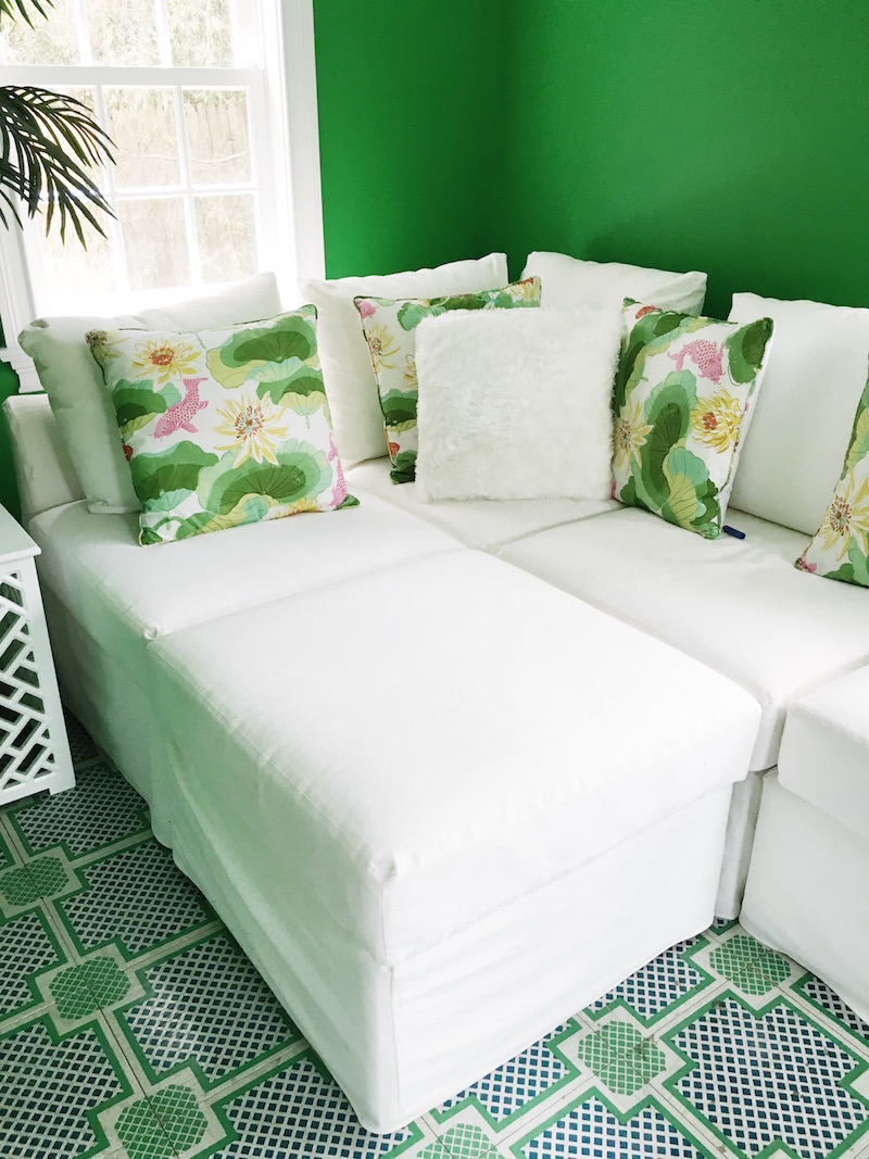 Gorgeous Green Home Office East Hampton White Couch Tropical Pillows