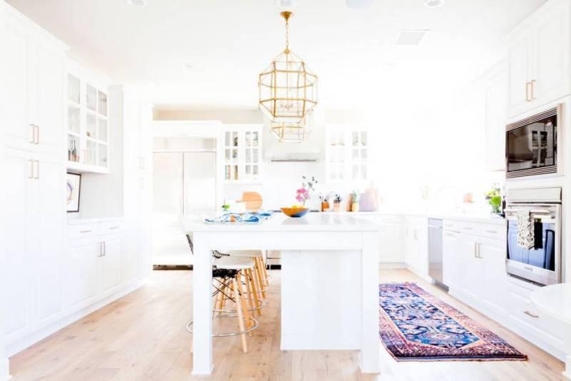 Bright White Kitchens Boho Rug Gold Chandelier
