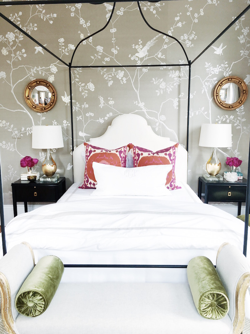 Bright White Bedroom Pink Pillows De Gournay Wallpaper