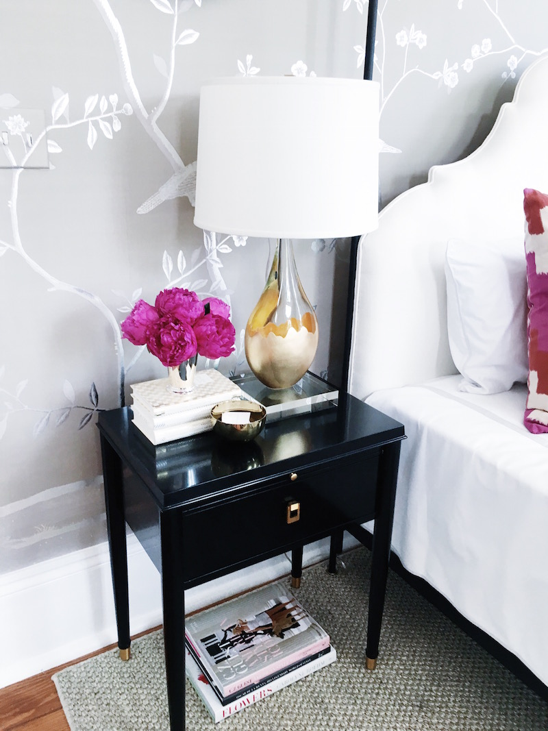 Bright While Bold Color Black Nightstand Fresh Flowers