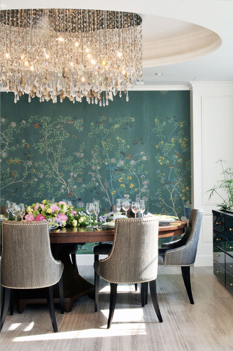 De Gournay Chinoiserie Jardinieres Citrus Trees Dining Room Crystal Chandelier