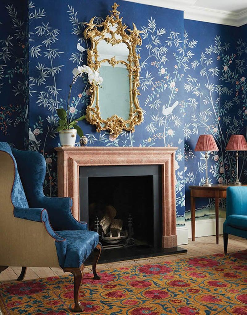 De Gournay Chinoiserie Portman Deep Blue Gold Mirror