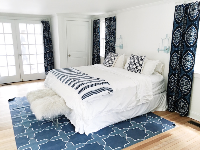 Blue White Guest Bedroom Madeline Weinrib Rug Striped Pillow