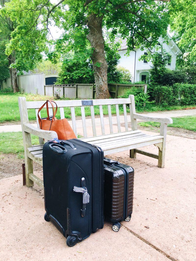 East Hampton Weekend Travels Luggage Bus Stop