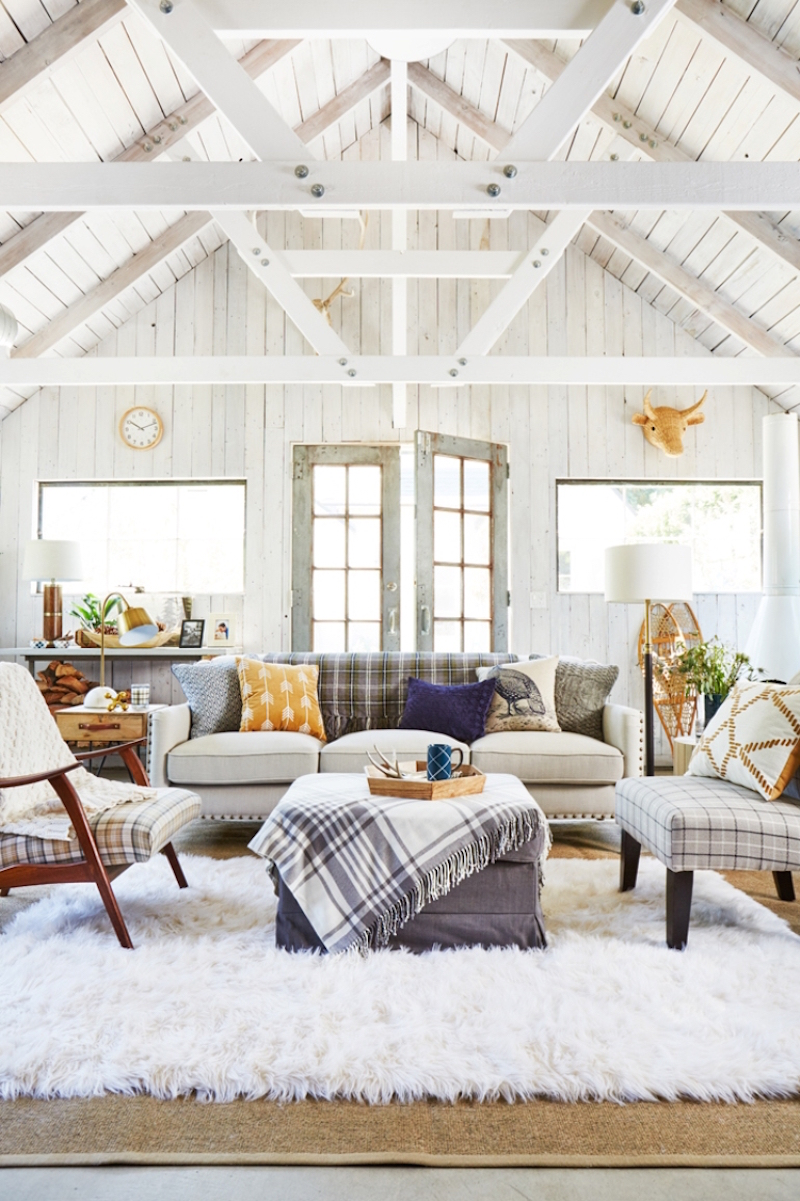 emily henderson interiors plaid living room a frame ceiling