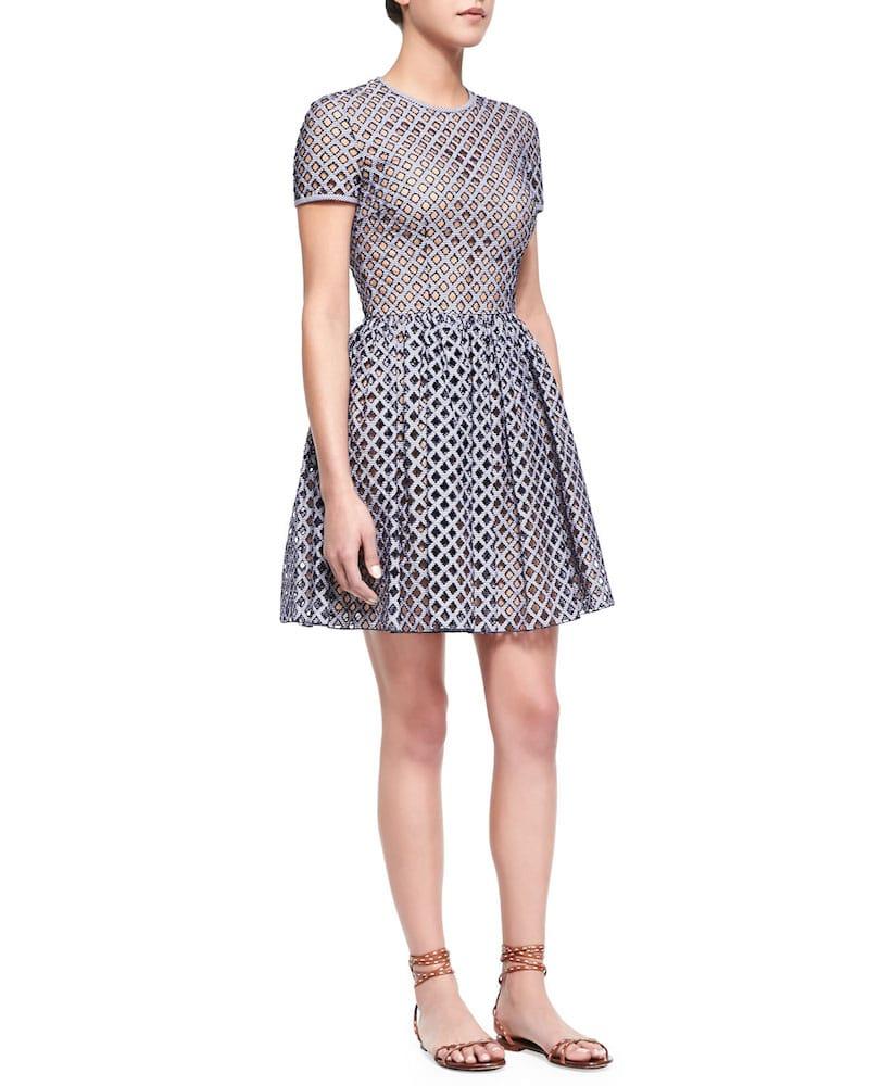 lattice gingham fit n flare dress