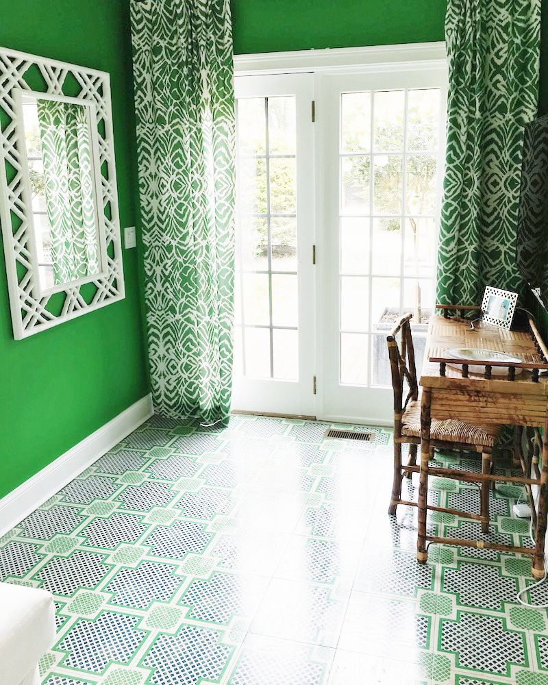 Mirth Studio Painted Wood Tile Floors Gorgeous Green Home Office East Hampton