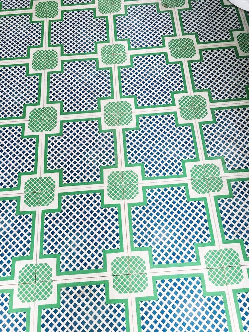 Mirth studios painted wood tile floors