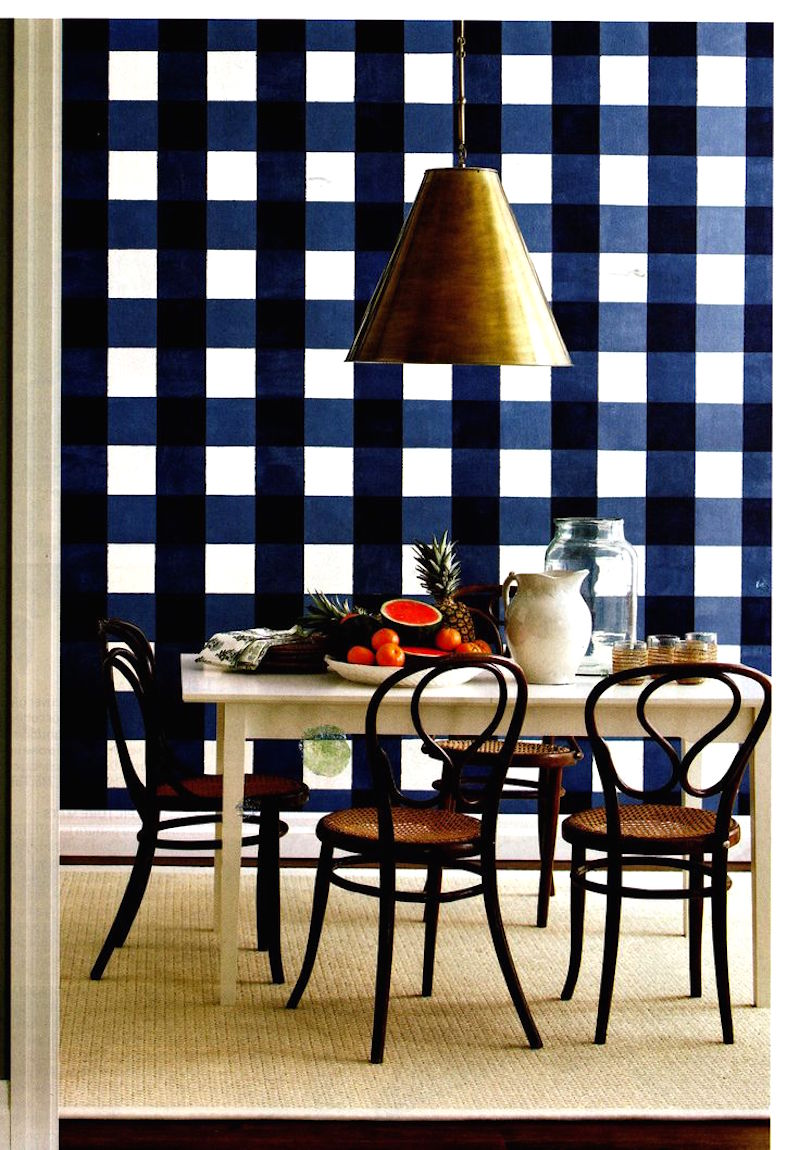 Oversize blue checkered wall