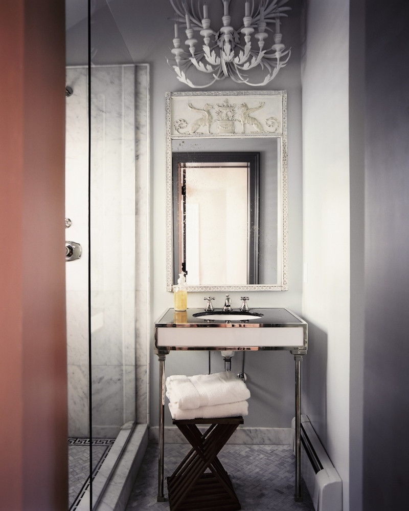 Grey Bathroom White Chandelier SAG Harbor Cottage