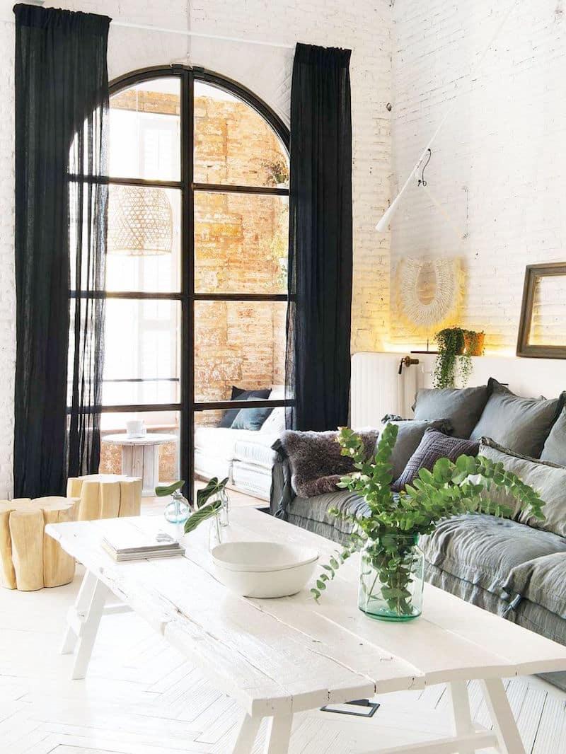 bright barcelona apartment tour grey linen sofa white coffee table