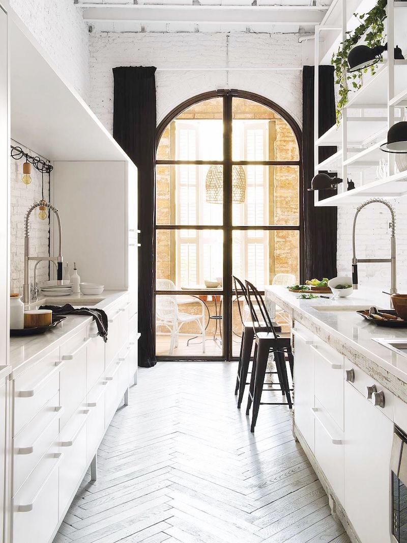 Galley Kitchen with Windows