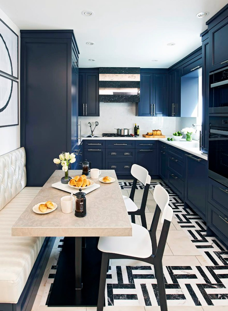 Navy blue galley kitchen banquette breakfast nook
