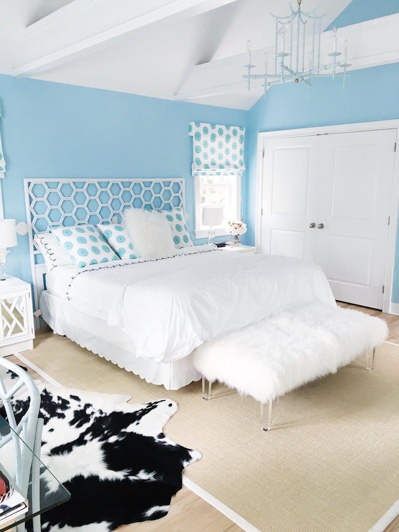 East Hampton Master Bedroom White Bedding Blue Walls