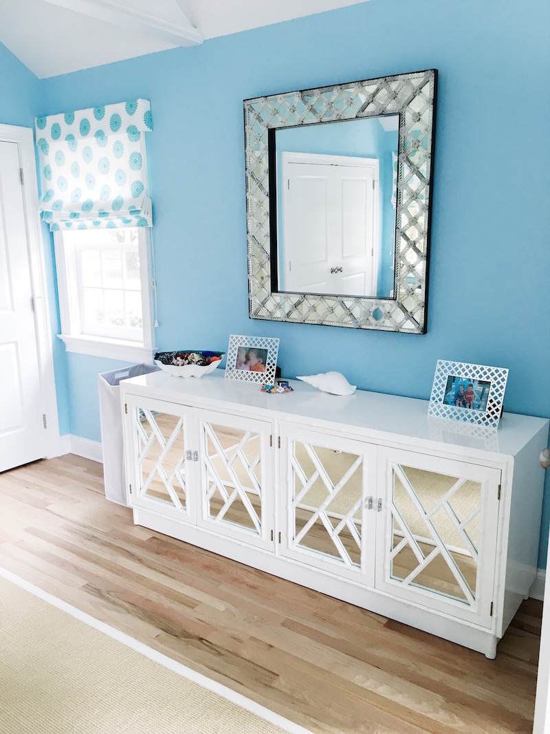 East Hampton Master Bedroom White Dresser Glass Mirror