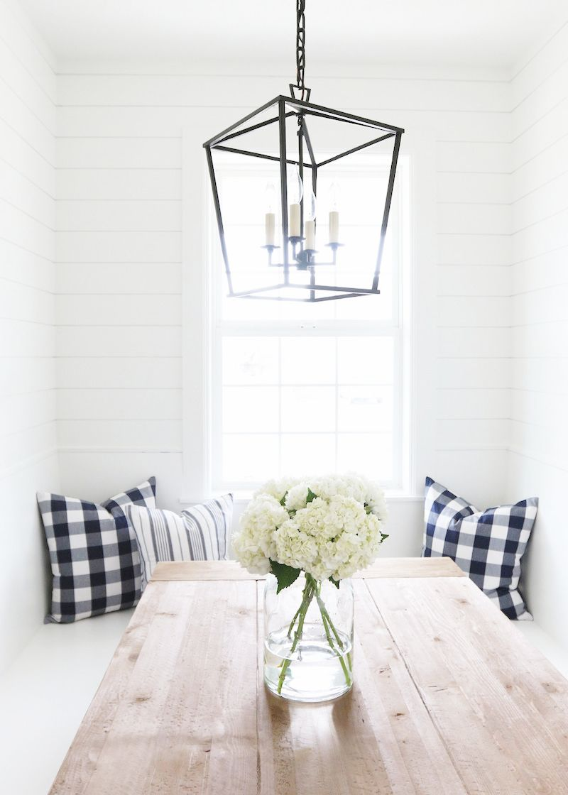 Farmhouse Studio McGee Perfectly Plaid Pillows Cococozy Breakfast Nook