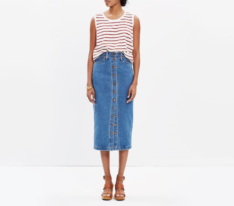1c168fdda0 Madewell Midi Denim Skirt Button Front Nude heels striped shirt