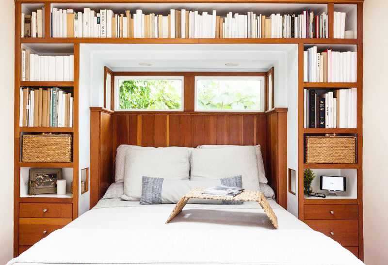 Popular  bedroom built in bookshelves cozy cottage los angeles white bedding wooden accents