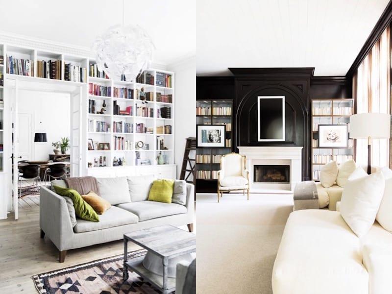 black white living rooms built in bookshelves