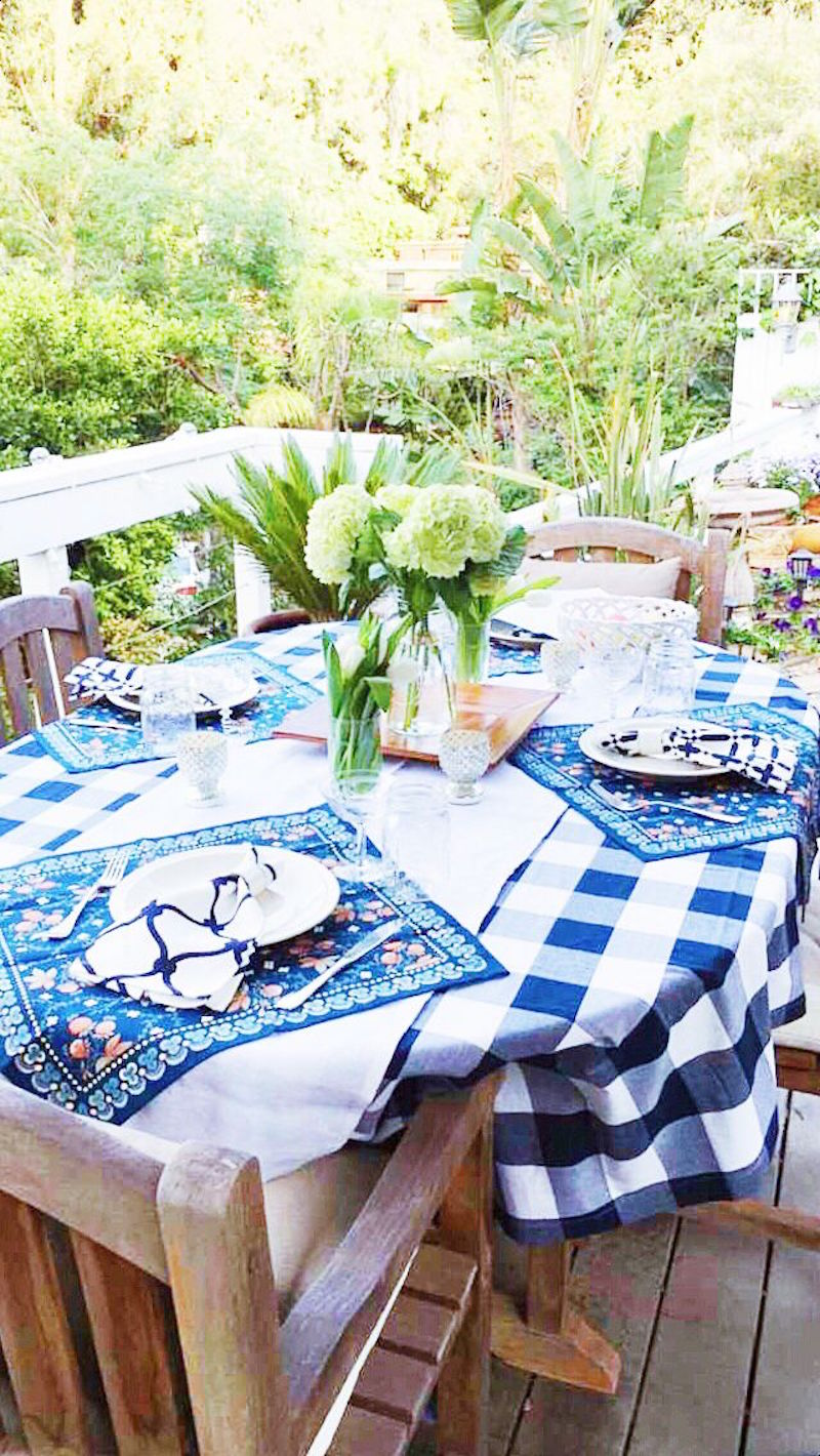 dining al fresco blue white gingham tablecloth