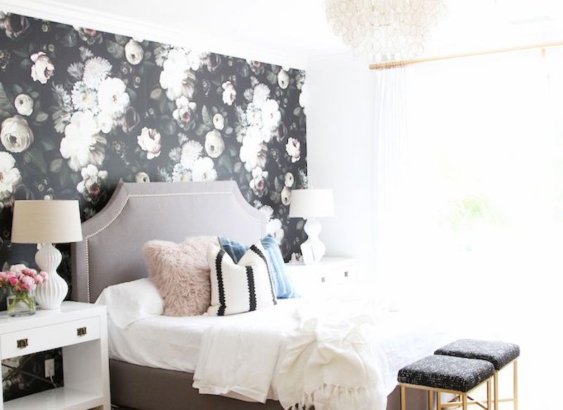 floral wallpaper upholstered romantic beds