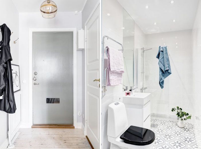 Compact Quarters Entry Way Master Bathroom Tile Floors Wood Floors