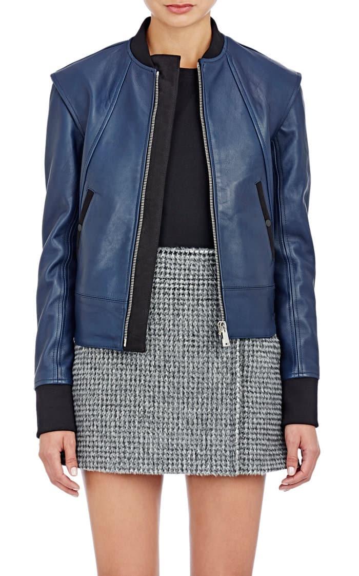 paco-rabane-blue-leather-bomber-jacket-cococozy