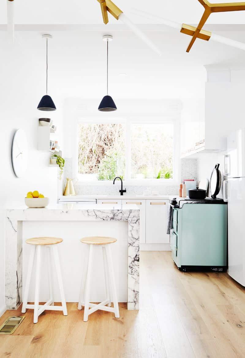 Rebecca judd kitchen backsplash grey penny round tiles marble kitchen round penny tile backsplash marble island dailygadgetfo Images