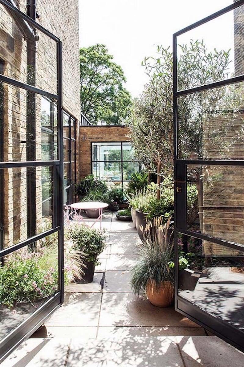 Steel frame windows and doors - Stunning Steel Windows Courtyard
