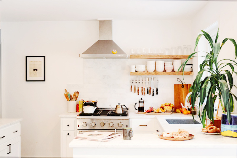 u shape kitchens white cabinets stainless steel open shelving
