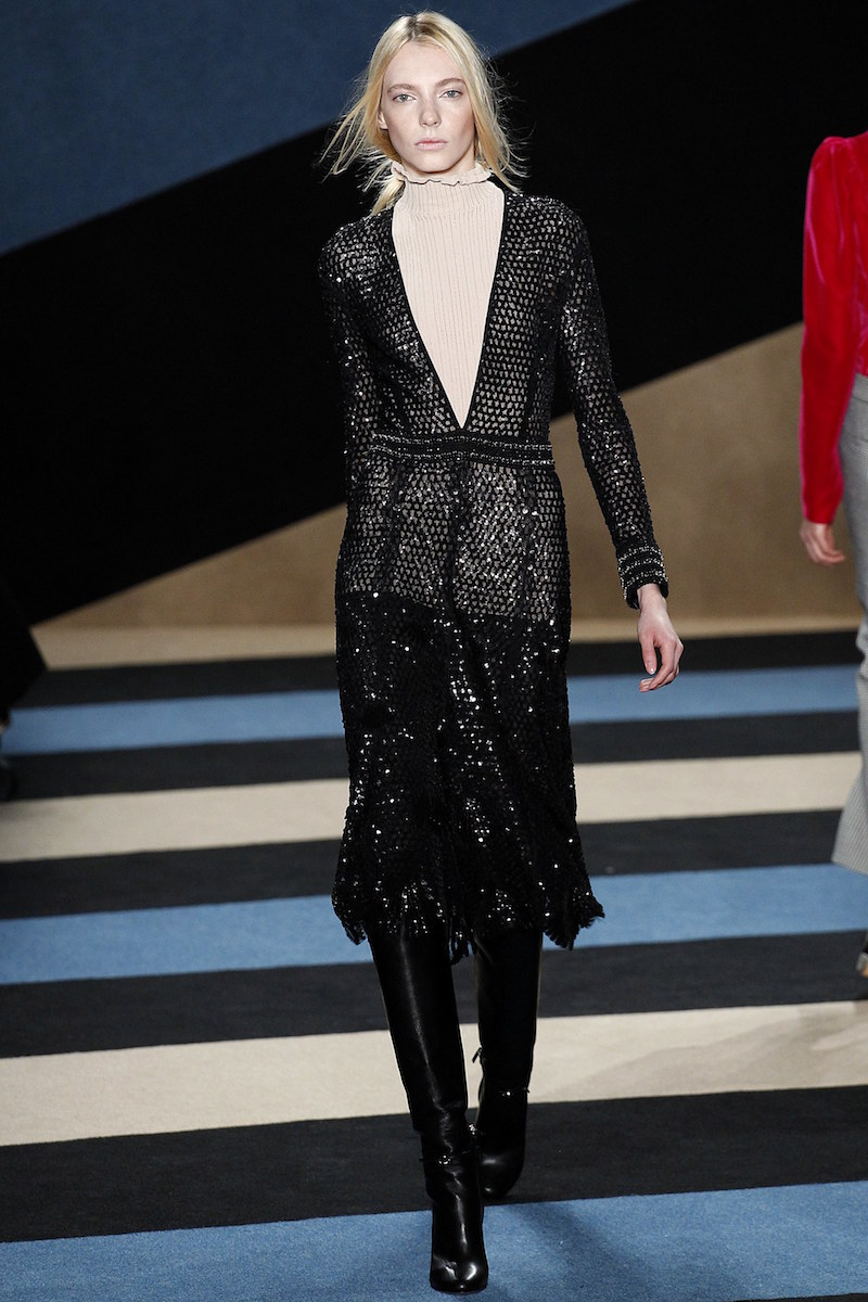 Derek Lam Black Sequence Dress Black Boots Fall Fashion Looks