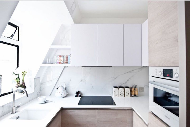 u shape kitchens white cabinets natural light stove top