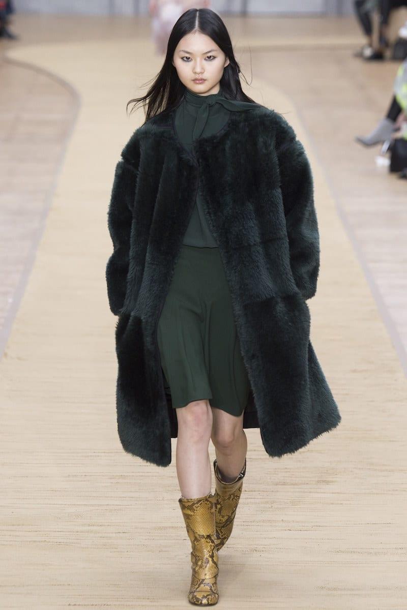Chloe Fur Hunter Green Coat Camel Boots Fall Fashion Looks