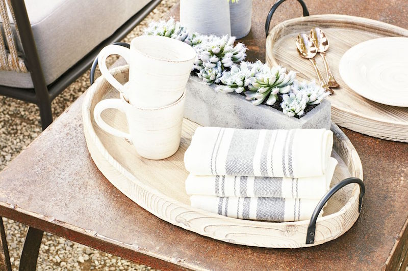 rustic outdoor entertaining coffee table mugs napkins