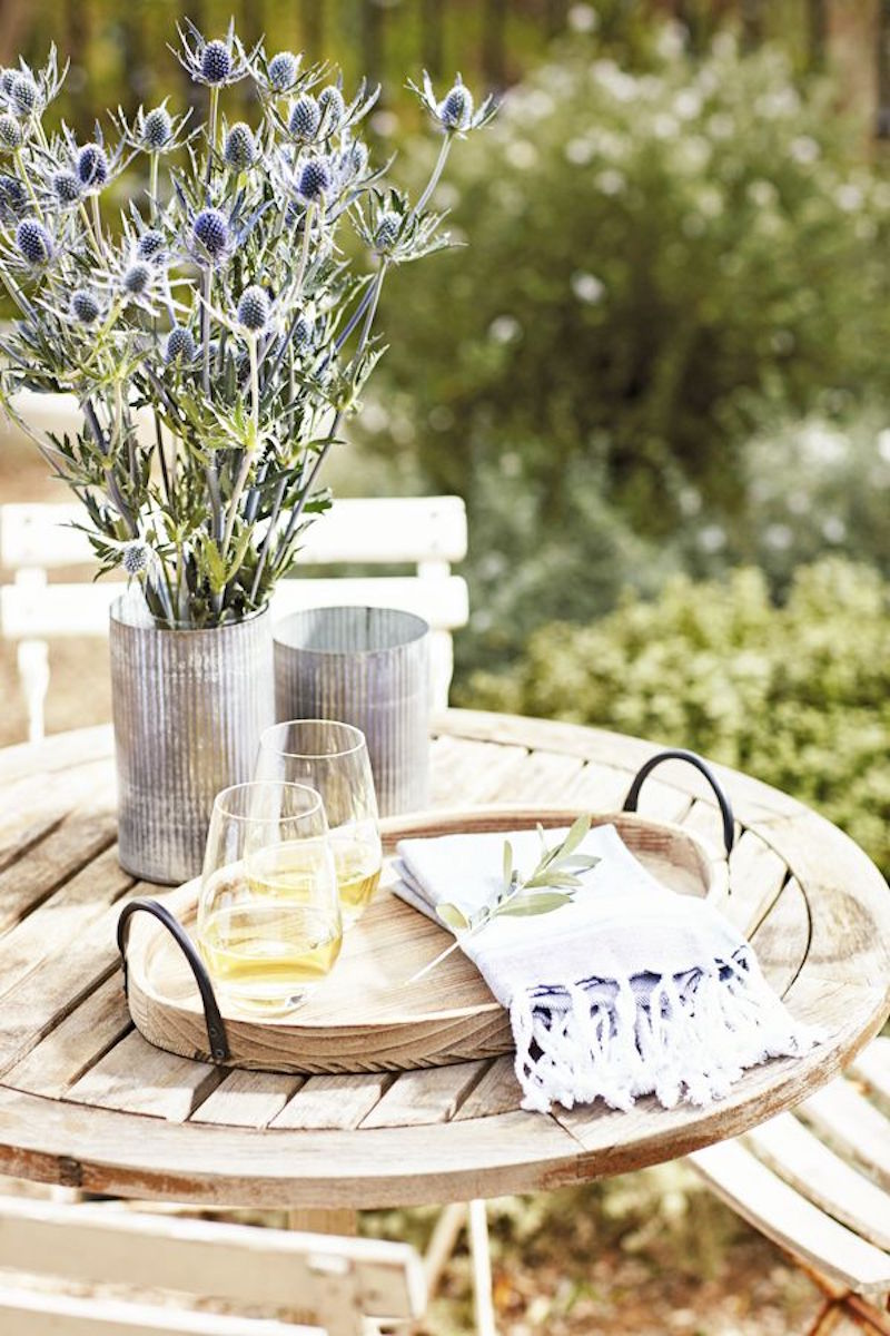 rustic outdoor entertaining coffee table