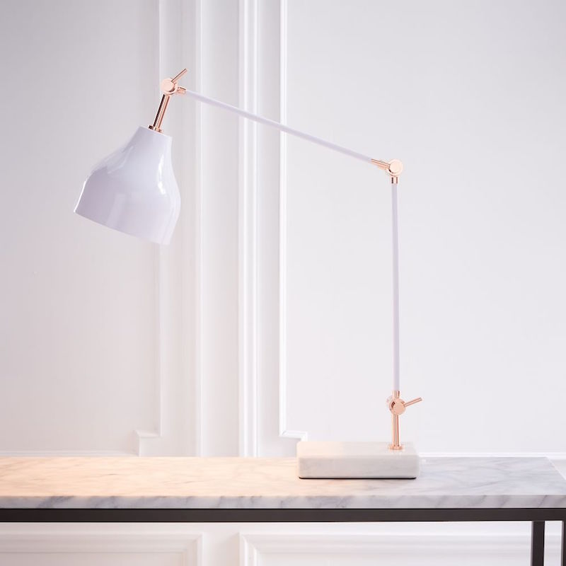 stone base desk white lamp