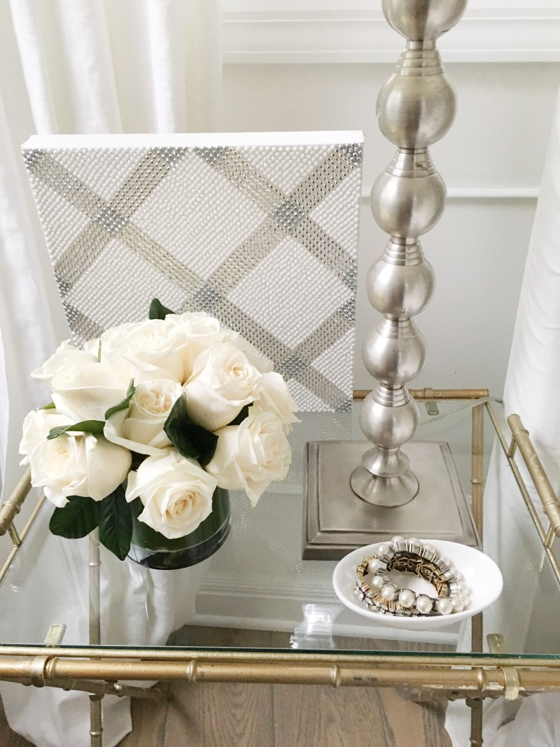 bedside style white roses jewelry dish lamp