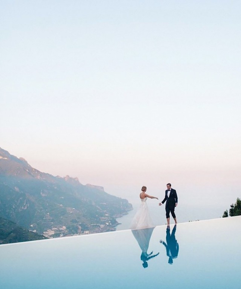 amalfi coast infinity pool wedding italy